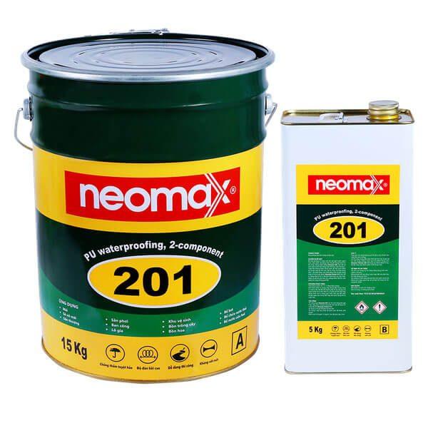 Neomax 201 là hợp chất chống thấm hai thành phần, dạng lỏng, dựa trên gốc nhựa polyurethane(PU) đa tính năng, có chứa dung môi. Sau khi thi công sẽ hình thành lớp phủ đàn hồi có độ bền kéo đứt tốt, độ giãn dài cao. Sản phẩm có khả năng che phủ các vết nứt tuyệt vời.