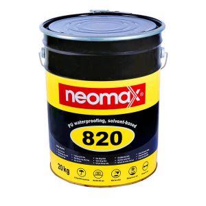 Neomax 820 là hợp chất chống thấm một thành phần, dạng lỏng, dựa trên gốc nhựa copolyme, có chứa dung môi. Sau khi thi công sẽ hình thành một lớp chống thấm đàn hồi, có độ bền kéo đứt tốt và độ giãn dài cao, tính năng bám dính và khả năng che phủ các vết nứt tuyệt vời