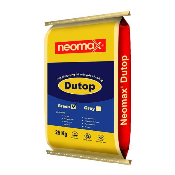 Neomax Dutop Greenlà sản phẩm tăng cường bề mặt sàn, dạng bột màu xám, sản xuất theo công thức đặc biệt trên cơ sở gốc xi măng,phụ giavà cát chất lượng cao.
