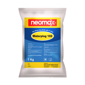Neomax Waterplug 102 là một loại vữa đóng rắn nhanh gốc xi măng, được chế tạo sẵn để sử dụng ngay.Dạng bột, màu ghi xám