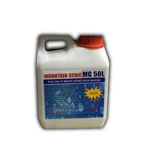 Mountain Genie MG50L Phụ gia xi măng đóng rắn nhanh là chất lỏng đặc biệt được sử dụng kết hợp với xi măng tạo ra vữa đóng rắn nhanh, cường độ cao, bám dính