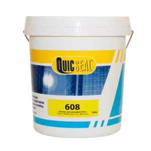 Quicseal 608là phụ gia latex acrylic với công thức chuyên dụng để trộn vào xi măng và cát nhằm cải tiến chất lượng của vữa.